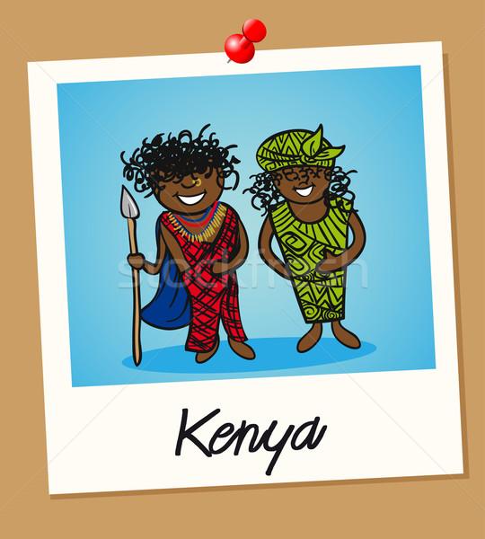 Kenia viaje Polaroid personas hombre mujer Foto stock © cienpies