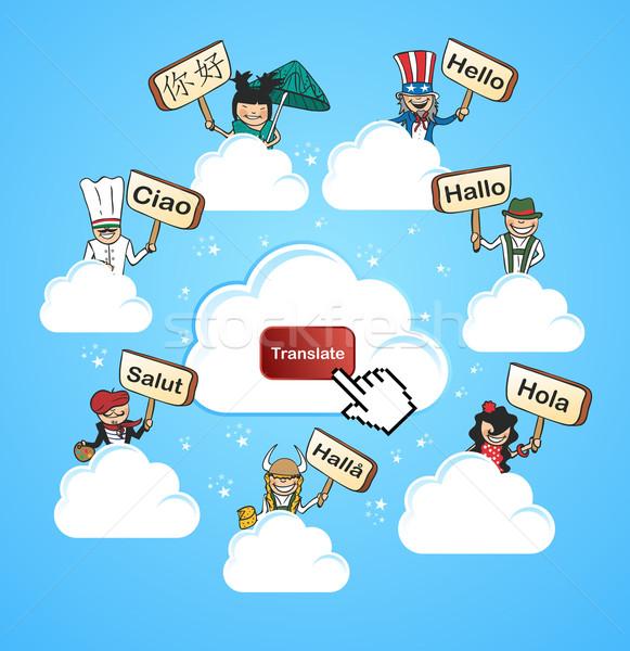 Cloud community translate concept Stock photo © cienpies