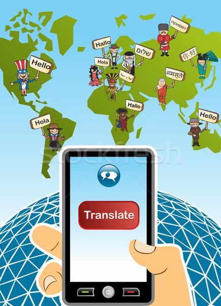 Global tradução aplicativo mapa do mundo mão Foto stock © cienpies