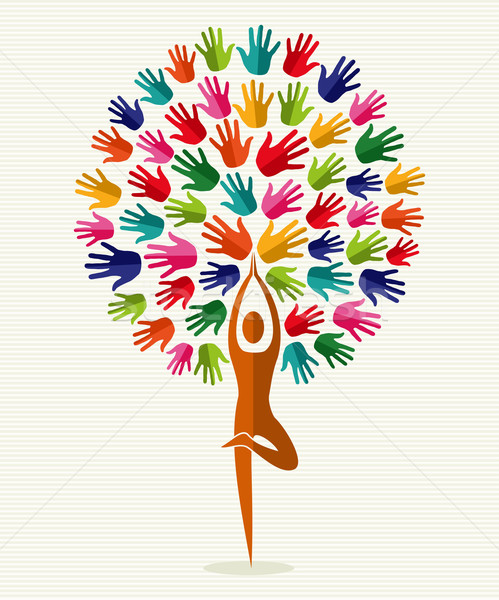India yoga hands tree Stock photo © cienpies