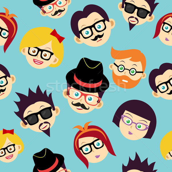 Colorful vintage hipsters faces seamless pattern. Stock photo © cienpies