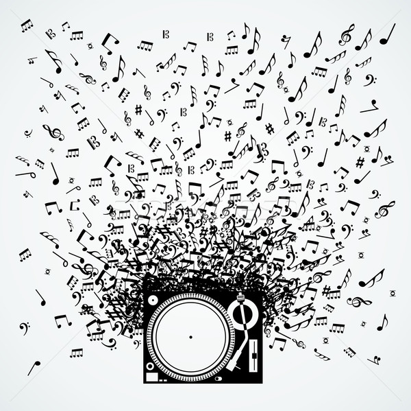 Stock photo: Music notes from turntable isolated design