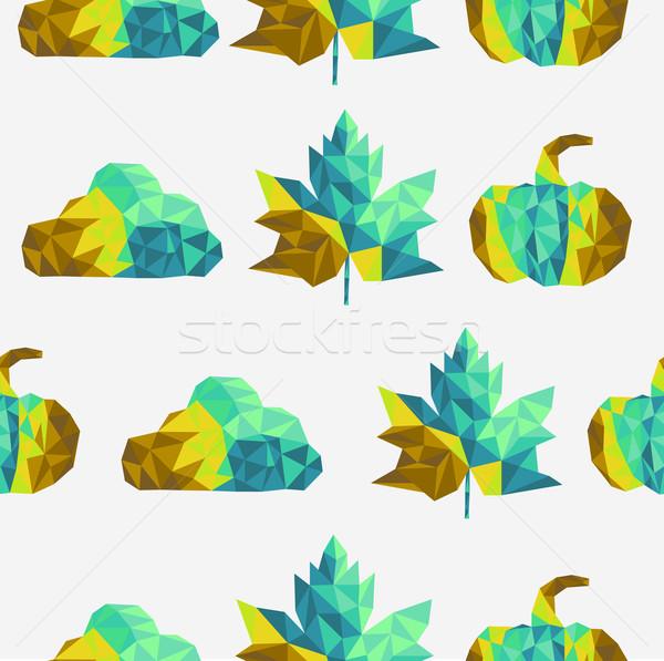 Geometric fall elements seamless pattern background. EPS10 file. Stock photo © cienpies