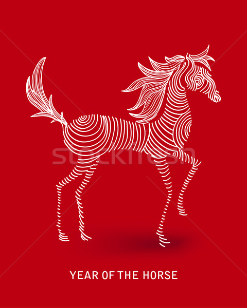 Chinese new year of the Horse abstract swirl shape file. Stock photo © cienpies