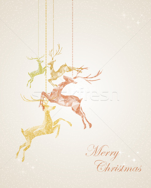 Merry Christmas abstract hanging reindeer greeting card Stock photo © cienpies