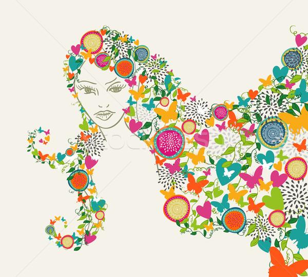 Сток-фото: красивая · женщина · аннотация · цветы · волос · иллюстрация · бабочка