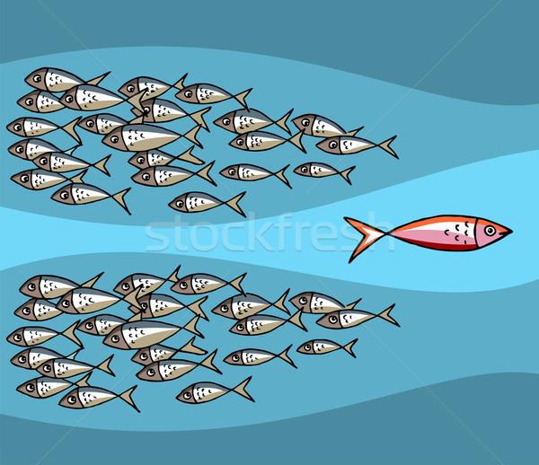Poissons natation marée différent bleu vecteur Photo stock © cienpies