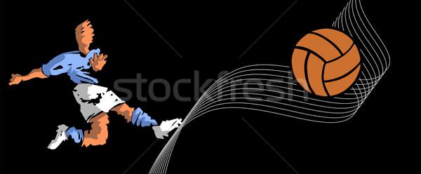 soccer player shooting Stock photo © cienpies
