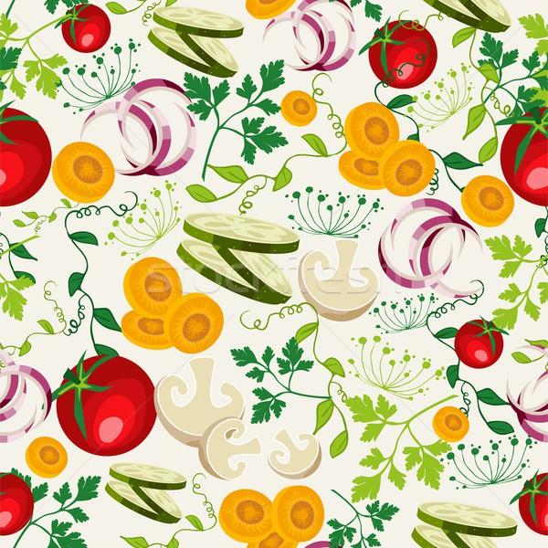 Vegetáriánus étel minta színes egészséges étel végtelen minta organikus Stock fotó © cienpies