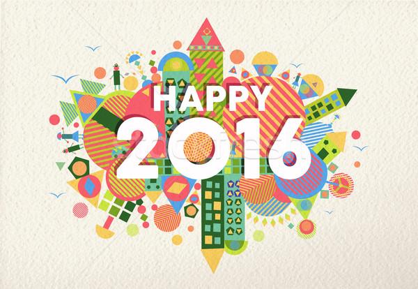 New year 2016 happy greeting card fun colorful Stock photo © cienpies
