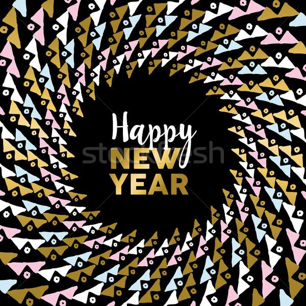 Feliz ano novo ouro mandala tribal arte Foto stock © cienpies