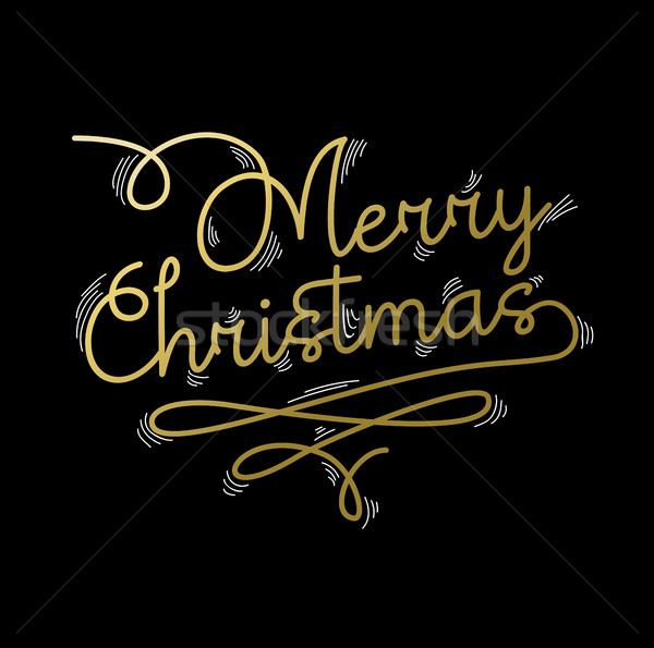 Merry Christmas gold quote greeting card Stock photo © cienpies