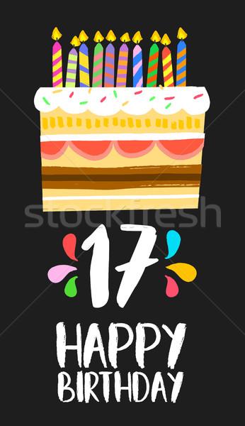 Feliz aniversário bolo cartão 17 dezessete ano Foto stock © cienpies