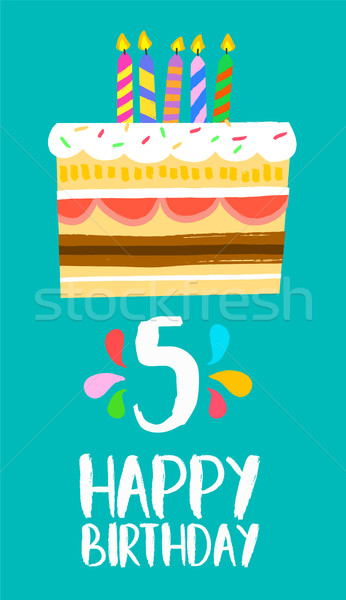 Happy Birthday cake card for 5 five year party Stock photo © cienpies