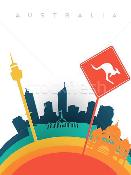 Travel australia 3d paper cut world landmarks Stock photo © cienpies