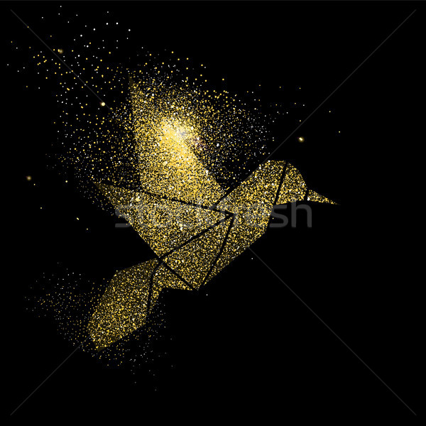 Bird gold glitter art concept symbol illustration Stock photo © cienpies