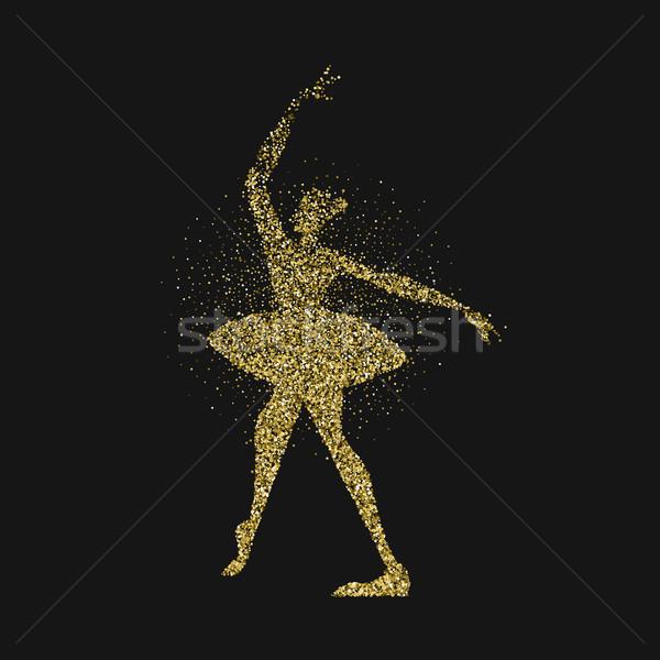 Danseur de ballet fille or glitter Splash silhouette Photo stock © cienpies