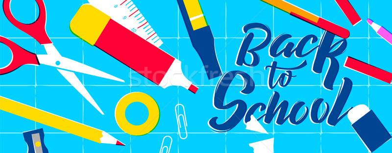 Stockfoto: Terug · naar · school · web · banner · klasse · kleurrijk