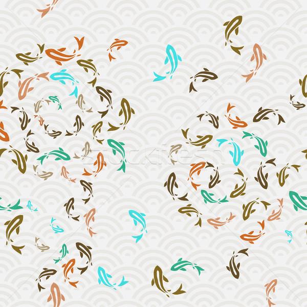 азиатских koi рыбы пруд искусства Сток-фото © cienpies