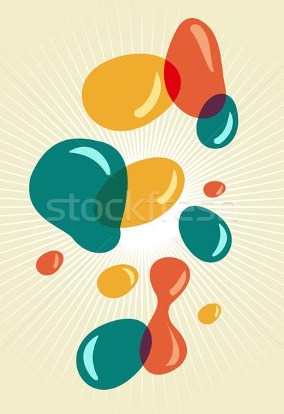 Stock fotó: Retró · stílus · színek · buborékok · sugarak · textúra · absztrakt