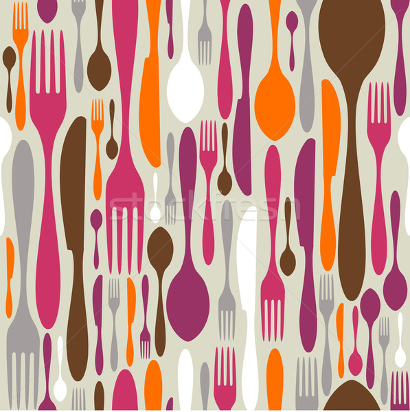 Cutlery silhouette icons pattern background  Stock photo © cienpies