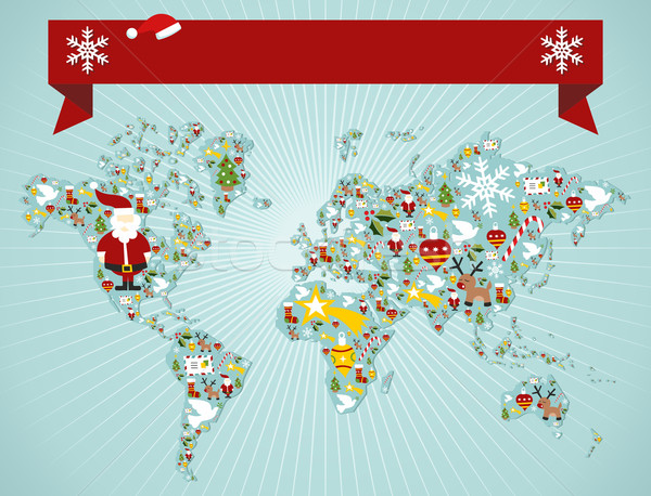 Christmas World map concept Stock photo © cienpies