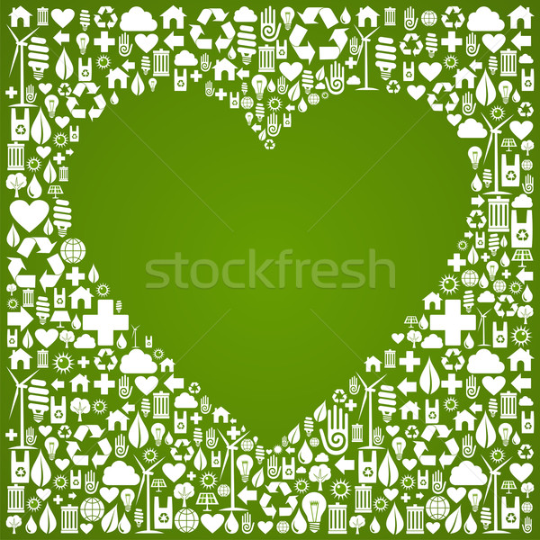 Ökologie Liebe Symbole Herzform grünen Stock foto © cienpies