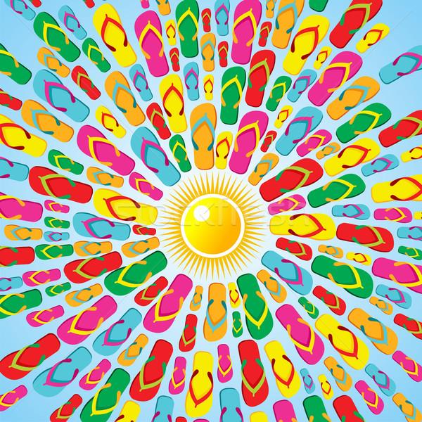 Papucs nyár csobbanás ikonok színek nap Stock fotó © cienpies