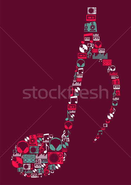 Dj Music icons musical note Stock photo © cienpies