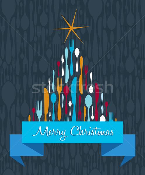 Сток-фото: рождественская · елка · приборы · вилка · ложку · ножом