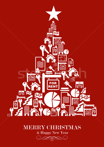 Real estate industry Christmas Tree Stock photo © cienpies