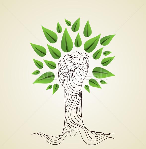 Verde mão árvore desenhar estilo salvar Foto stock © cienpies