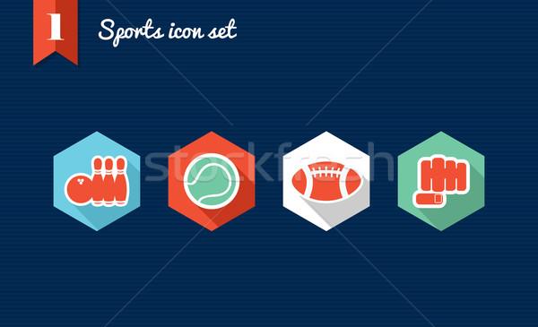 Sports flat icons set. Stock photo © cienpies