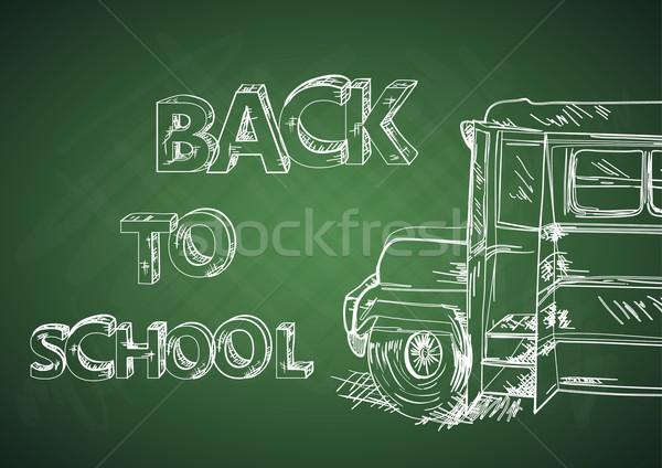 образование Снова в школу автобус зеленый доске школьный автобус Сток-фото © cienpies