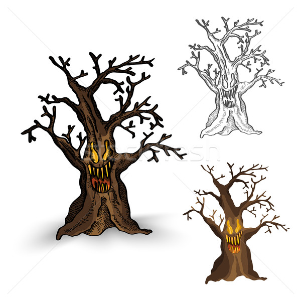 Halloween monsters isolated spooky haunted tree set. Stock photo © cienpies
