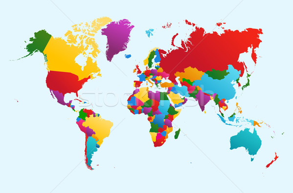 World map, colorful countries illustration EPS10 vector file. Stock photo © cienpies