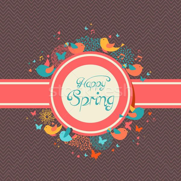 happy spring vintage label illustration vector