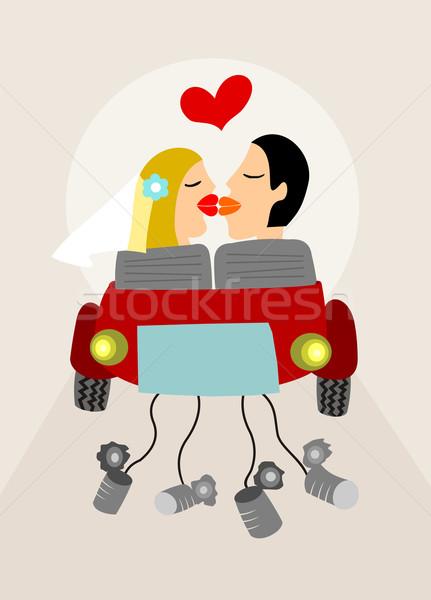 Friss házasok pár út autó vektor esküvő Stock fotó © cienpies