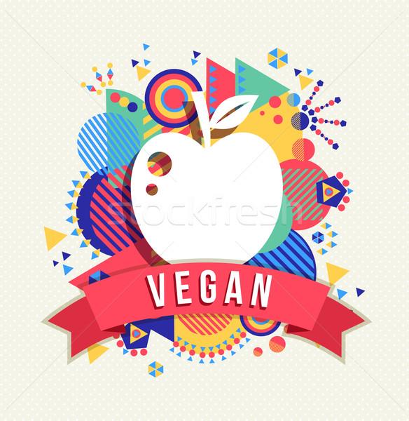 Vegan elma ikon etiket renk Stok fotoğraf © cienpies