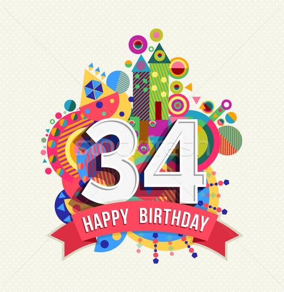 Feliz cumpleaños año tarjeta de felicitación anunciante color treinta Foto stock © cienpies