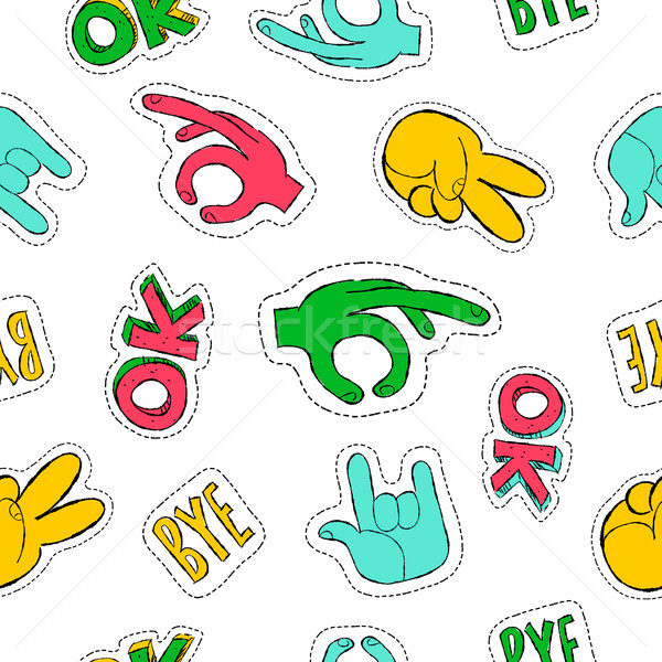 Retro 90s style hand sign patch seamless pattern Stock photo © cienpies
