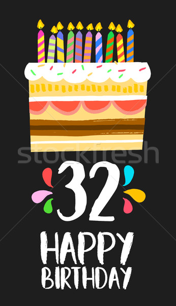 Photo stock: Joyeux · anniversaire · carte · trente · deux · année · gâteau
