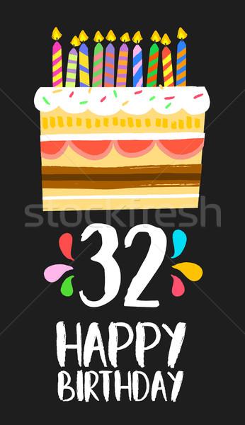 Gelukkige verjaardag kaart dertig twee jaar cake Stockfoto © cienpies