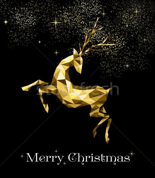 Christmas złota renifer ozdoba dekoracji wesoły Zdjęcia stock © cienpies