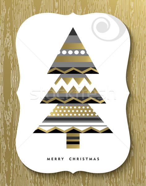 золото веселый Рождества сосна дизайна Сток-фото © cienpies