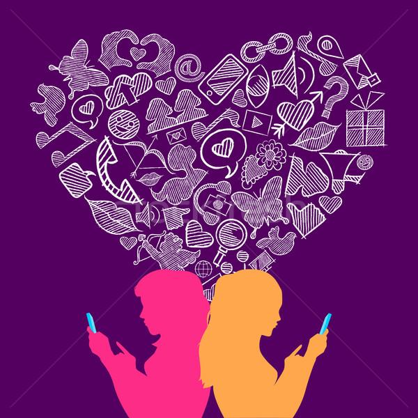 Stockfoto: Social · media · lesbische · liefde · internet · pictogrammen · twee · vrouwen · illustratie
