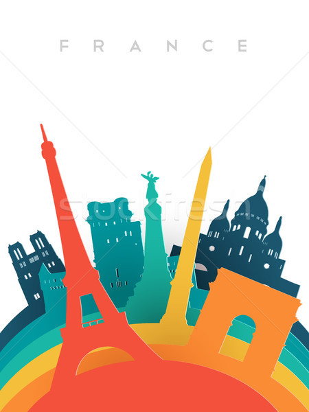 Stock photo: Travel France 3d paper cut world landmarks