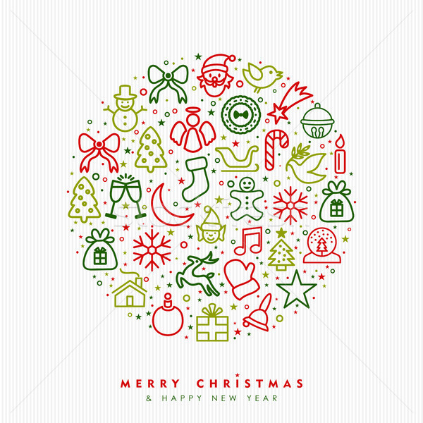 Christmas and new year outline icon greeting card Stock photo © cienpies