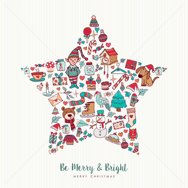 Christmas hand drawn icon star holiday card design Stock photo © cienpies