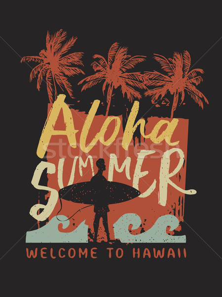 Aloha été internaute typographie affiche Hawaii Photo stock © cienpies
